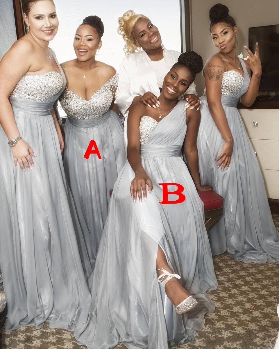 하나의 어깨 실버 아프리카 신부 들러리 드레스는 시폰을 구경꾼 흑인 소녀 흑인 웨딩 게스트 착용