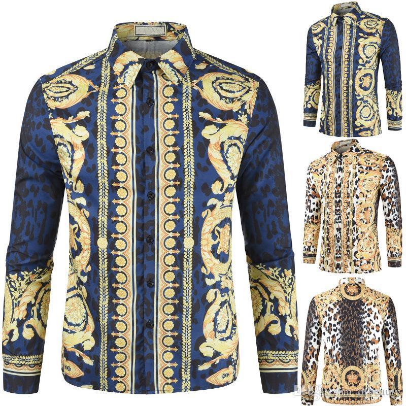 Camisa de flores impresa 3D de leopardo 3D de moda para hombres nuevos al por mayor camisas de manga larga streetwear tamaño M-3XL