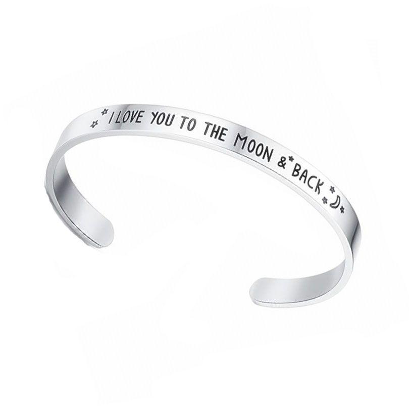 Pulseira de casal de aço inoxidável Eu te amo para a lua e costas abertas pulseira estrela moon c em forma de pulseira