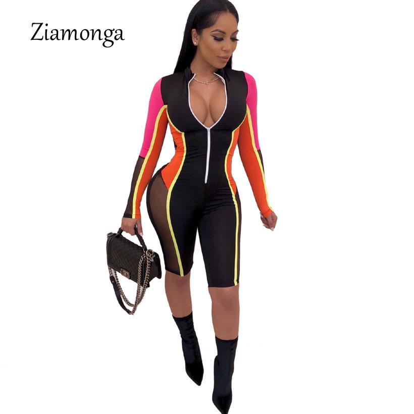 Ziamonga 2019 novo estilo marca de moda estilo casual mulheres playsuit listrado profundo decote em v manga comprida bodycon macacão feminino macacão