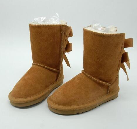 I bambini Gratuita spedizione genuini Snow Boots Leather per i più piccoli stivali con gli archi dei bambini Calzature Ragazze Snow Boots
