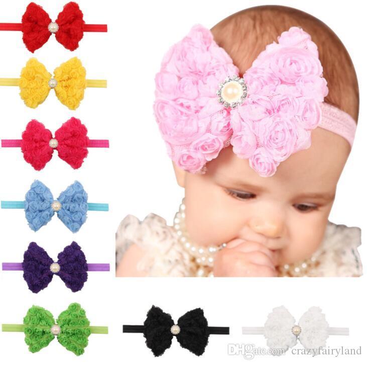 Аксессуары для волос для девочек Детские шифон цветок Hairband Симпатичные 12 цветов розы повязка Эластичная повязка Kids Party Аксессуары для волос