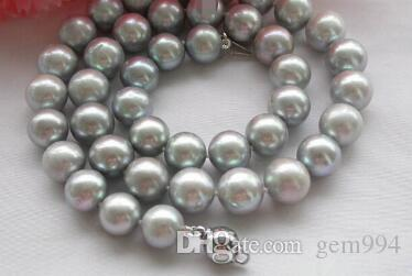 "necklace Free shipping ++17"" 10-11mm gray round freshwater cultured pearl necklace"