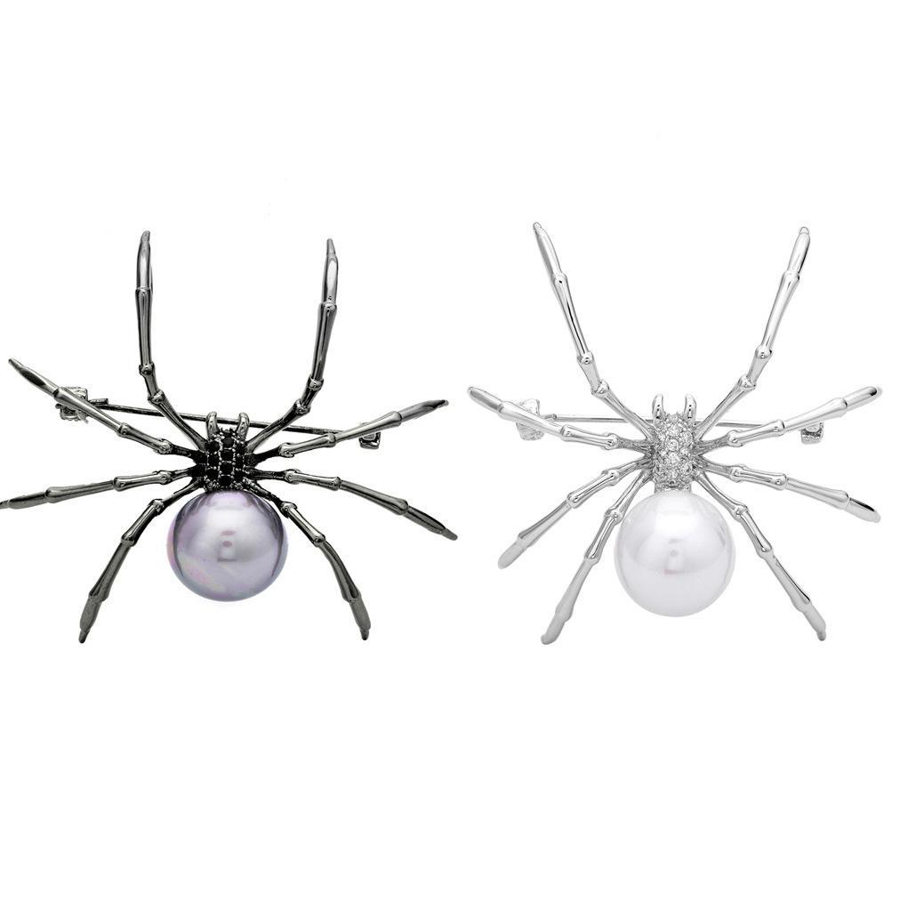 Unisex Insecto Punk Broche de Imitación Perla Araña Broches para Mujeres Hombres Abrigo Vestido de Bufanda de Pernos Joyería Del Partido
