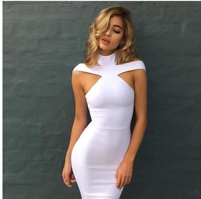 새로운 붕대 드레스 2018 연예인 이브닝 드레스 드레스 Vestidos 섹시한 숄더 홀터넥 화이트 레드 블랙 클럽 여성 드레스