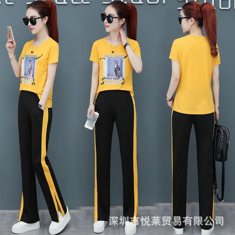 TiLeewon Повседневный Two Piece Set T Shirt + Широкие брюки ноги 2019 лето новый стиль Matching Наборы для женщин Одежда