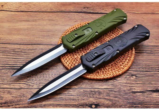 두개골 더블 액션 전술 자기 방어 접는 EDC 나이프 캠핑 나이프 사냥 칼 크리스마스 선물 주머니 도구 a2810