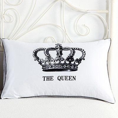 Carta Royal Crown Fronhas Rainha Rei Design caso Usa Rainha Pillow Tamanho Casal decorativa Shams Set 2 Pcs