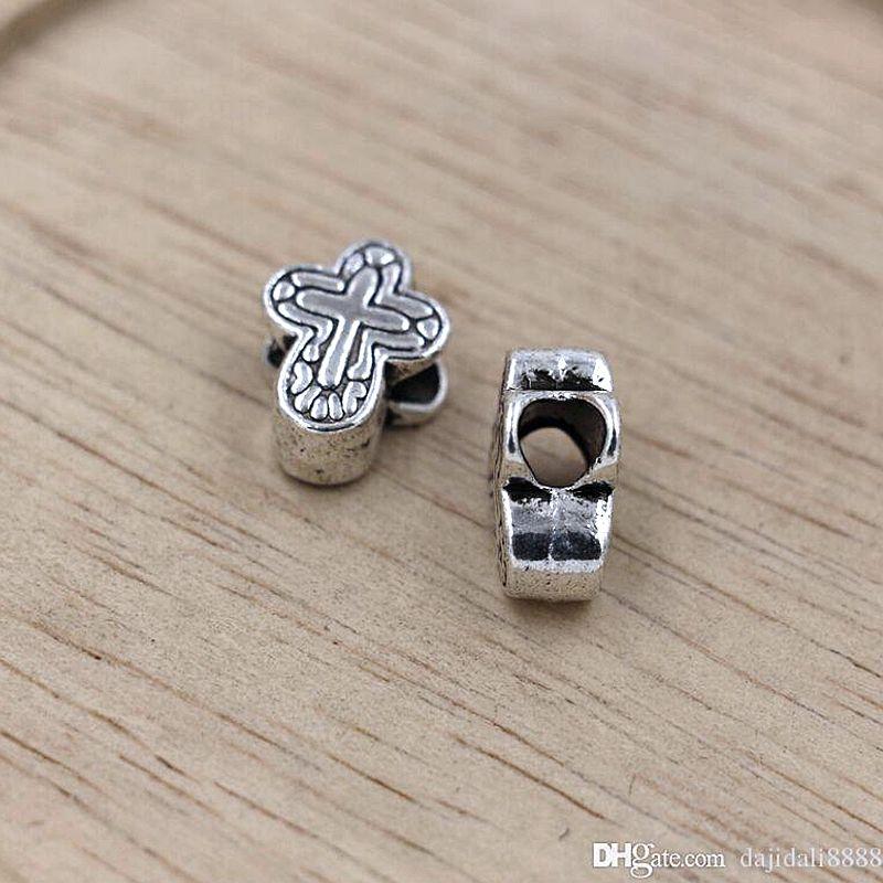 MIC 50 sztuk / partii Tybetański Silver Cross Duże dziury Koraliki Fit Europejskiej Charms Bransoletka 11x14.5mm Biżuteria DIY