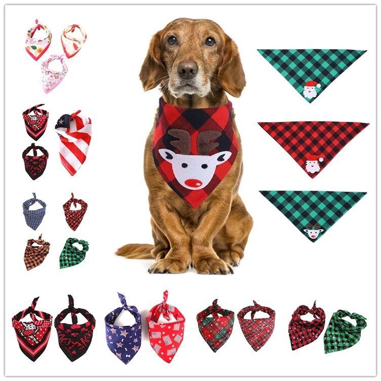 Morethan 30Designs Christmas Pet Scarf Triangle Bibs Dog Bandana Buffalo Plaid Snowflake Pet Kerchief Costume Accessories For Dogs Cats