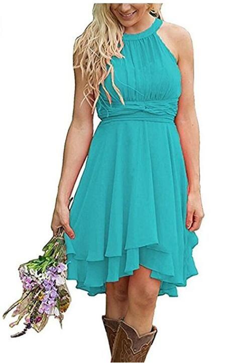 Элегантный страна невесты Платья короткие бирюзовый фрейлина платье высокая низкая Холтер шеи Ruched лето Boho платья свадебные гостевая одежда
