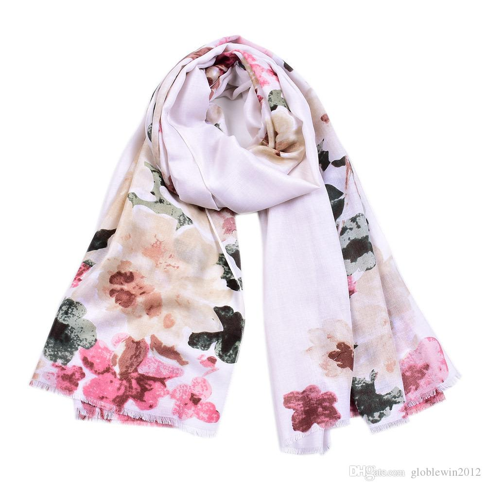 Fashion New Cotton Ombre Floral Print Scarves Shawls 2019 Long Trendy Blossom Flower Fringe Wrap Scarf Hijab 4 Color Hot Sale Free Shipping
