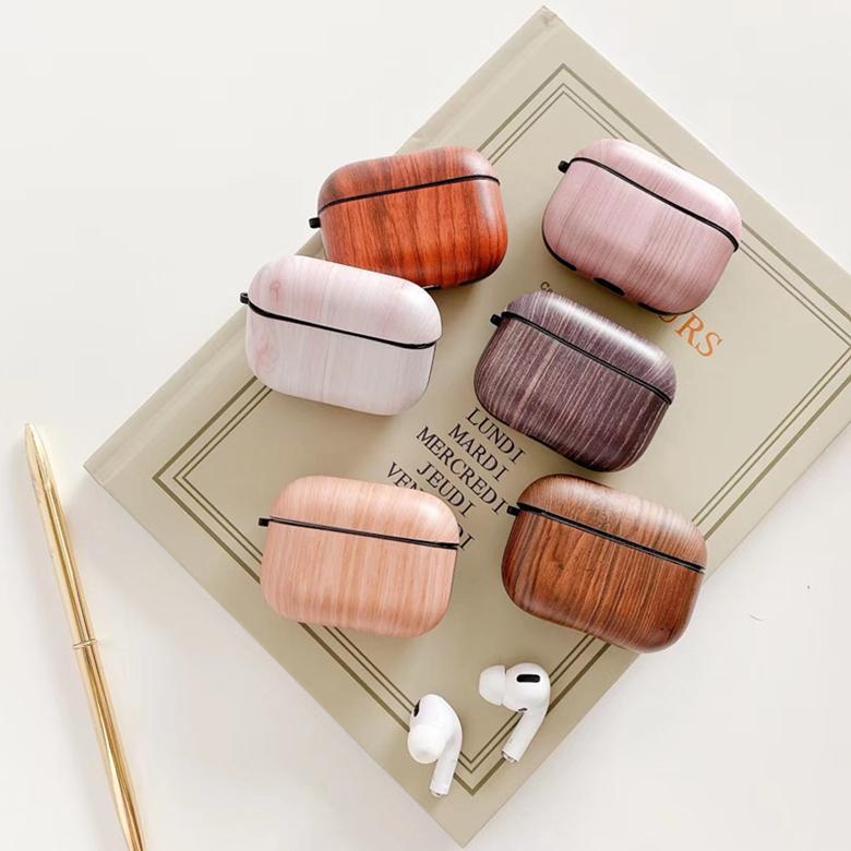 Coperchio Vegan di legno di colore morbido bagagli Borsa per TWS di Apple Airpods 2 auricolare Pro Wireless Grana del legno Pouch Shell con moschettone Hook