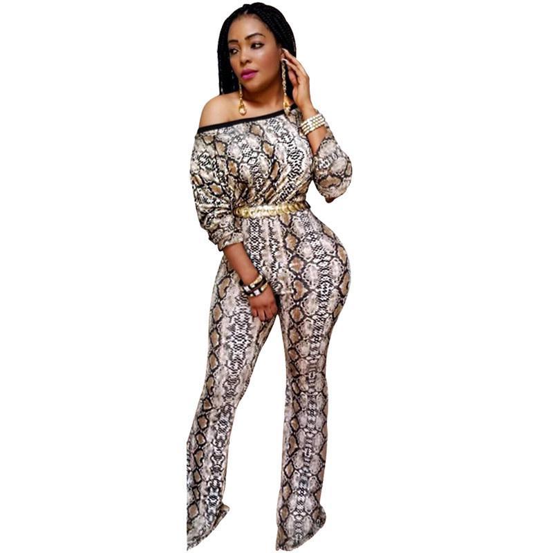 뱀 인쇄 오프 어깨 Jumpsuit 여자 가을 긴 소매 섹시한 바디 슈트 플러스 크기 넓은 레그 긴 바지 Rompers 여자 점프 슈트 Y19060501