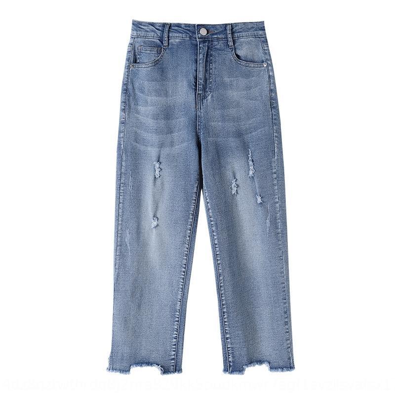 x8OAC 2020 verão nova irmã de gordura e calça jeans mais reta lavado todo-jogo cortada calças tornozelo mulheres do tamanho de 23211