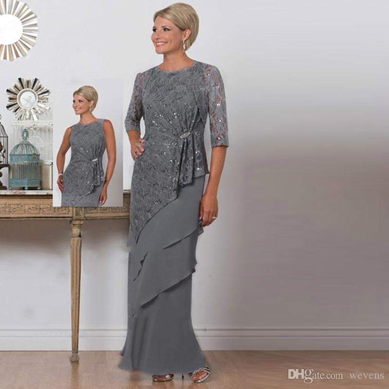 Two Pieces Grey Mother of the Bride Dresses with Jacket Jewel Neck Lace Top Tiered Skirt Formal Gown Floor Length Evening Wear