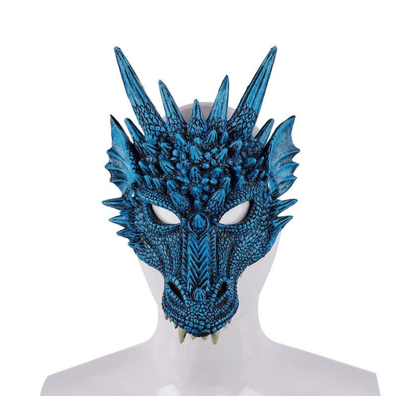 Mardi Gras PU Köpük 3D Hayvan Loong Çin Ejderha Cosplay Kostüm Noel Cadılar Bayramı Carnival Parti İçin Erkekler Kadınlar Maske