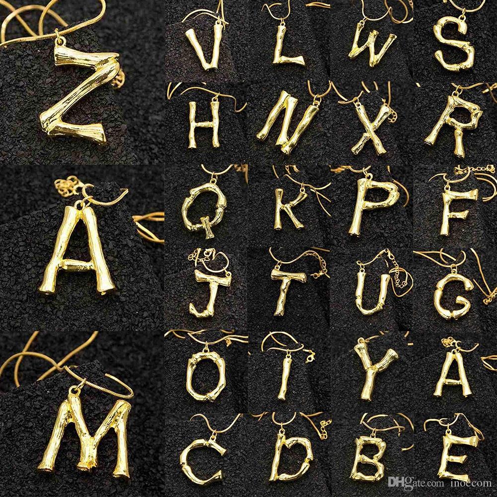 2 센치 메터 작은 골드 망치로 금속 대나무 26 편지 알파벳 AZ 미니멀 초기 펜던트 목걸이 패션 트위스트 체인 넥 보석