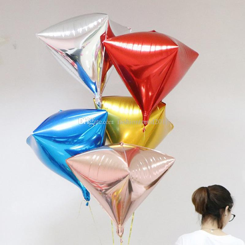 Solid Color Aluminum Foil Balloons 24inch 4D Diamond Cube Shaped Helium Ball Wedding Birthday Party New Year Decoration