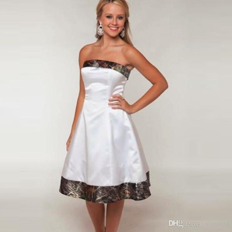 2019 новые камуфляжные свадебные платья камуфляж подружки невесты на заказ короткие белые платья для девочек без бретелек свадебные платья