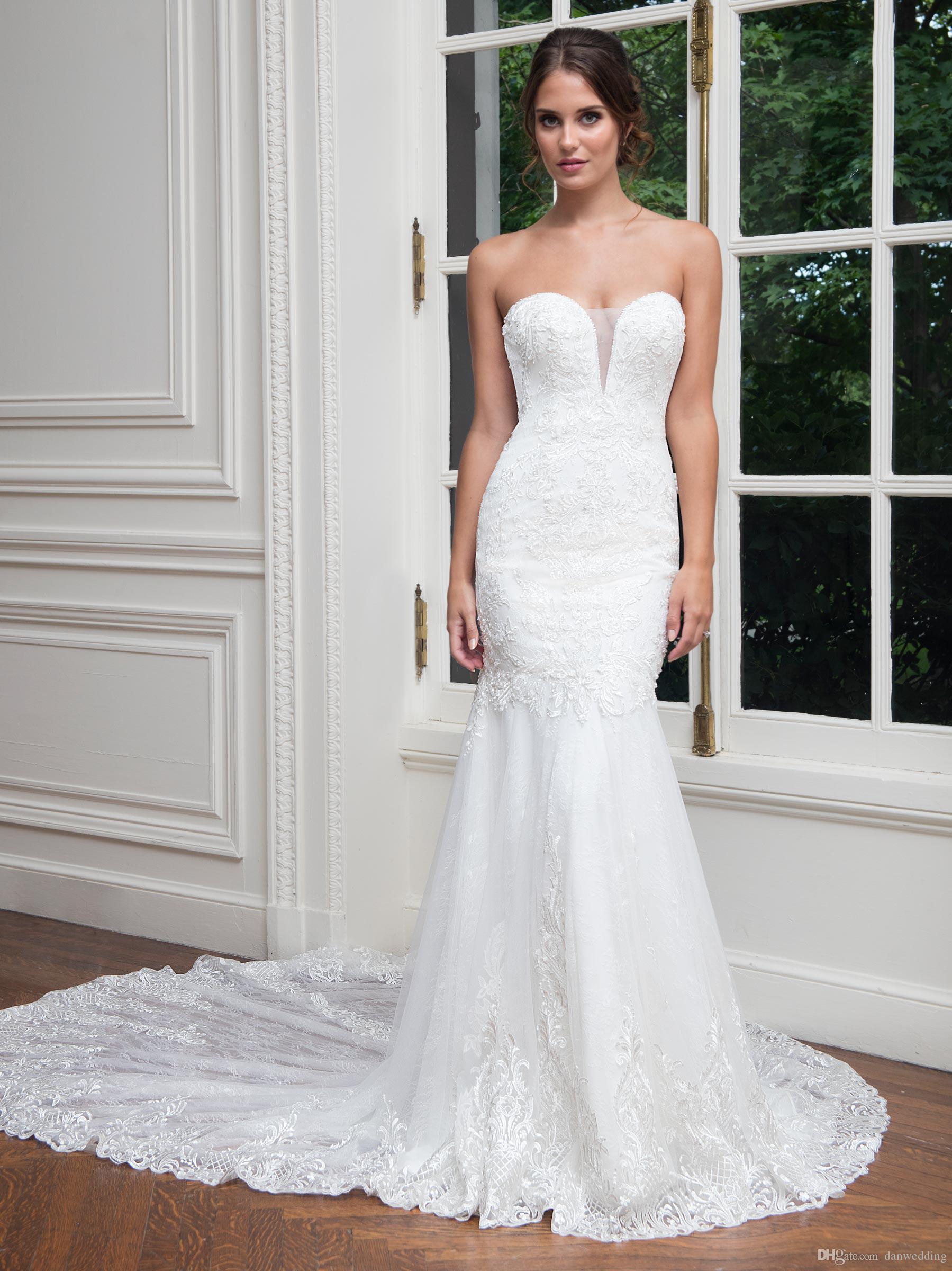 Noble White Ivory Sweetheart Applique Beads Mermaid Wedding Dresses Bridal Pageant Dresses Wedding Attire Dresses Custom Size 2-18 KF1219233