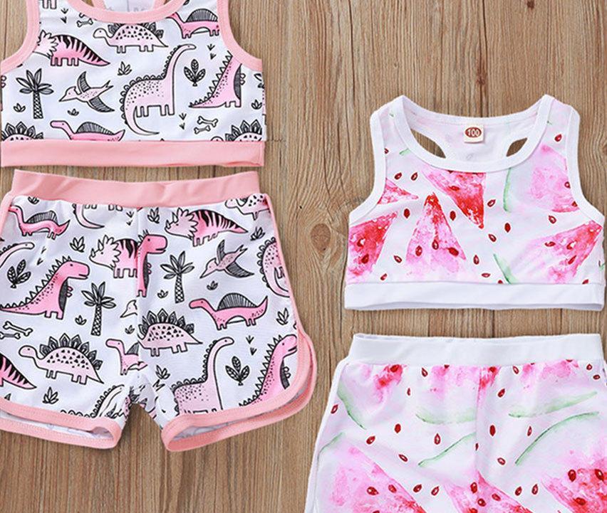 2ST Säuglingsbaby-Bikini-Badebekleidung Cartoon ärmel Badeanzug Tank Tops Shorts Schwimmen Wear Kleidung Niedlich Strand Bade Set