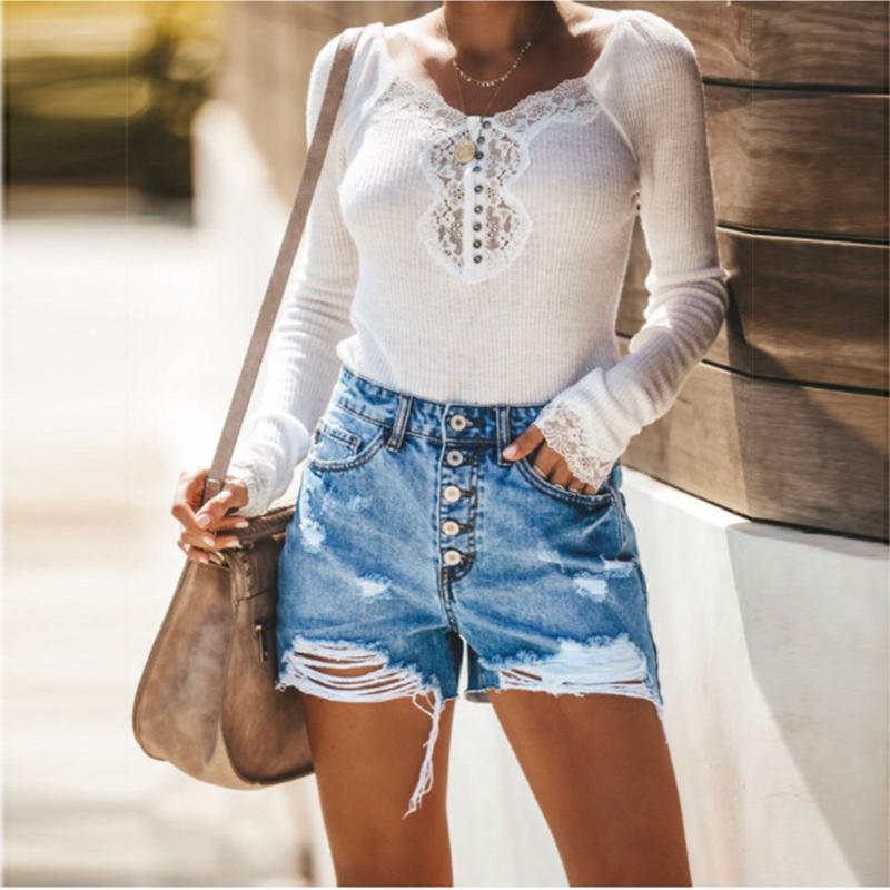 Le donne di modo di estate vita alta bicchierini del denim dei jeans sexy delle donne dei fori Shorts nappa 2019 nuovo Femme Push Up Skinny Slim Denim