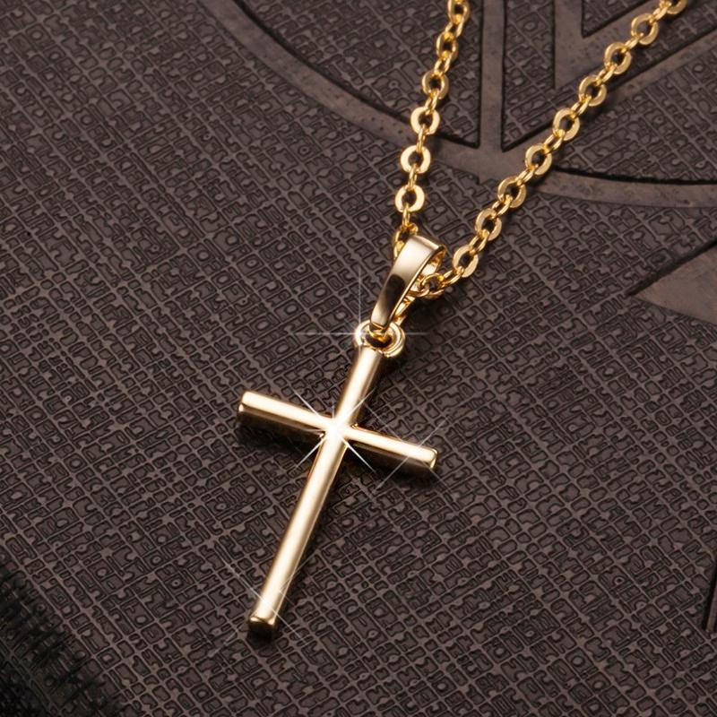 بسيطة الأزياء سلسلة الصليب قلادة للنساء رجال ترف السيدات الذهب والمجوهرات قلادة القلائد الصليب المسيحي حلية الهدايا