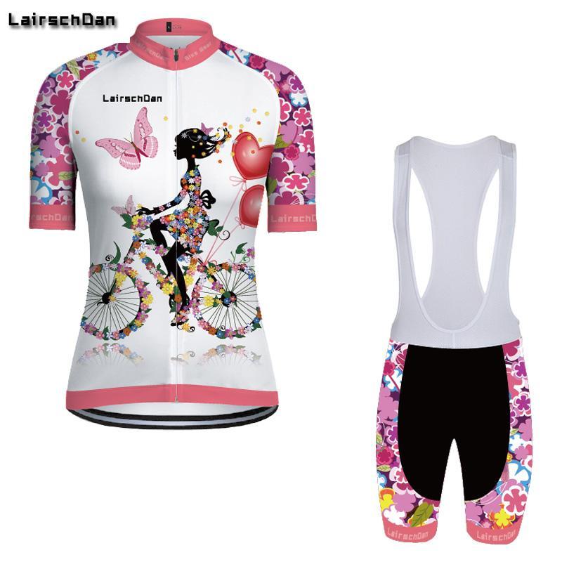 SPTGRVO Lairschda2019 femmes rose vêtements vélo set jersey vélo conviennent kit de vêtements de cyclisme manches courtes été tenue Vtt