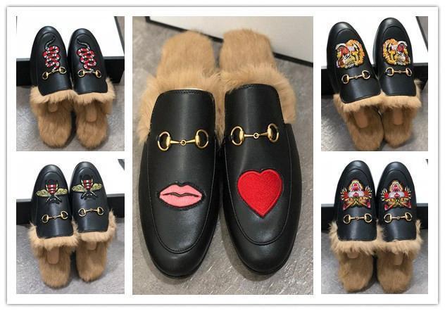 Hommes Designer Chaussons Princetown Fur Chaussons Fur Mules Flats chaîne Chaussures pour femmes Casual Femmes Hommes Mocassins Muller Chaussures pantoufle Furry S7881 #