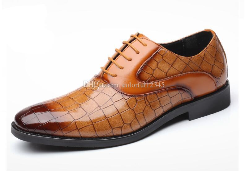 Patrón de cocodrilo Zapatos de cuero para hombres Zapatos de negocios con cordones de cuero casual Zapatos de fiesta para hombres Zapatos de fiesta formales para bodas
