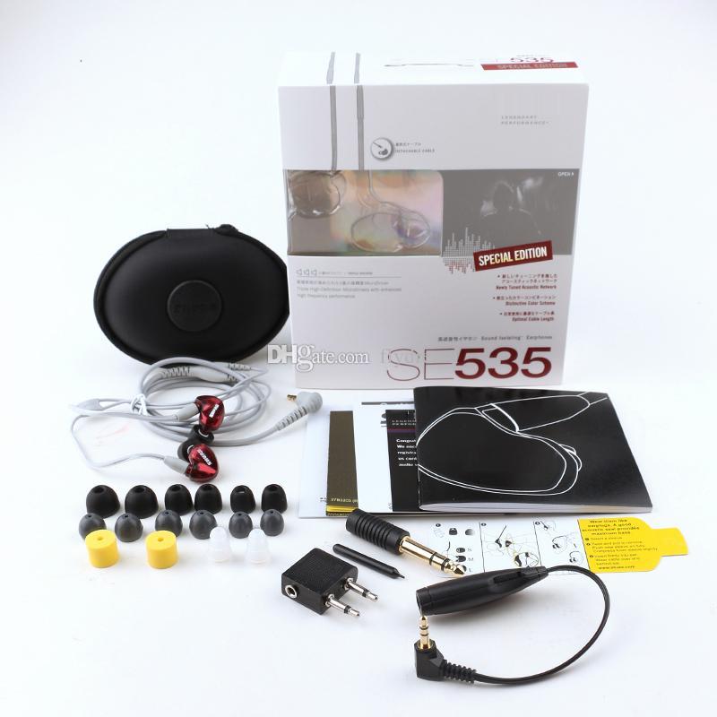 SE535 Auriculares manos libres en la oreja los auriculares con cable SE535 Auriculares HIFI Auriculares con cancelación de ruido Auriculares con LOGO paquete al por menor V Mejor