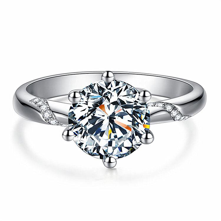 Clássico seis garra cor ouro anel ajustável 3a Áustria cristal anel de casamento para o presente de natal nupcial para mulheres anéis de noivado de jóias