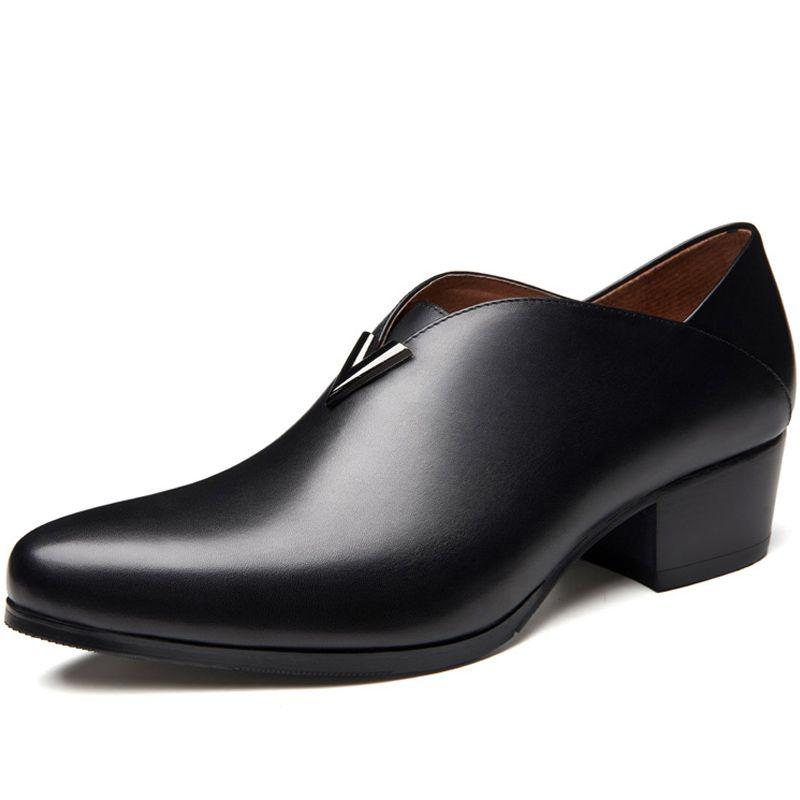 Les hommes en cuir véritable chaussures à talons hauts bout pointu slip sur l'augmentation de la hauteur chaussures habillées hommes mariage hommes danse fête