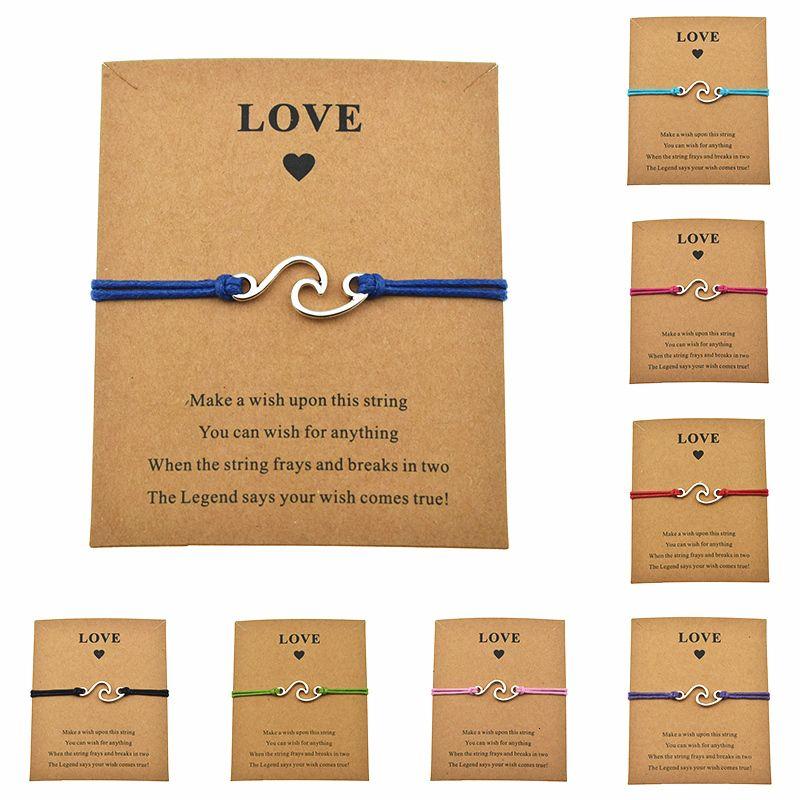 8 Farben glückliches Wasser Lässige Liebe-Karte Machen Sie ein Ocean Wave Charm Bracelets Adjustable für Frauen-Mann-Geschenk Freundschaft Schmuck