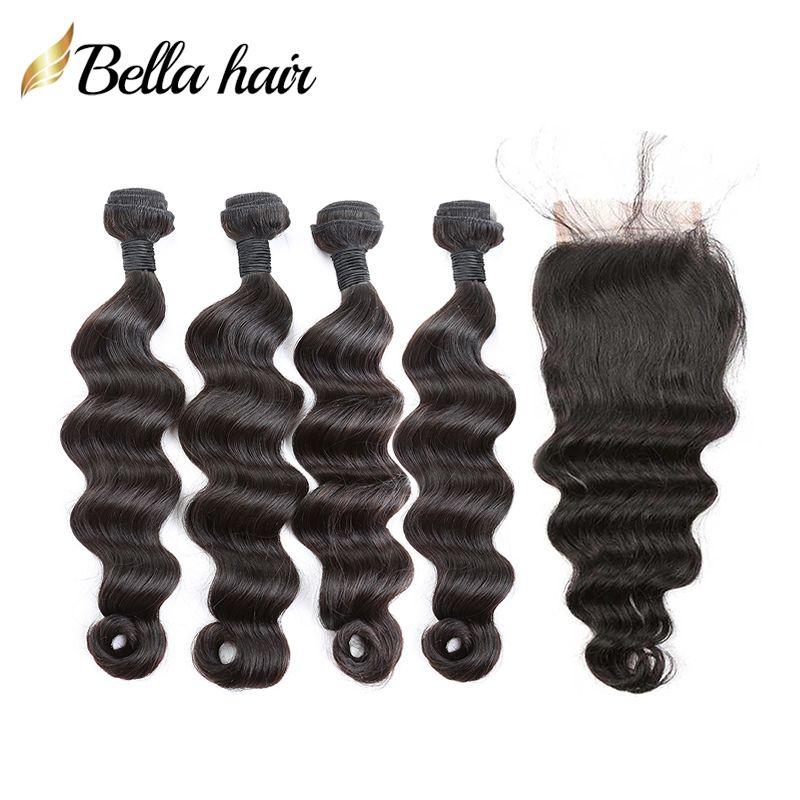 100% Menselijk Haarbundels met Sluiting Braziliaanse Maagd HaarLoose Diepe Hairextensions 4 Bundelswith Kantsluitingen 4x4 Vrije Deel Belhahahair
