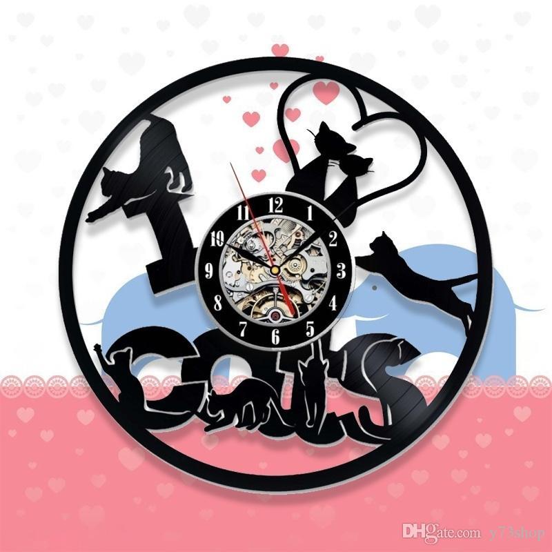 Моя любимая кошка Виниловая пластинка настенные часы ручной работы творческие настенные часы Home Decor Handmade Art Personality Gift (размер: 12 дюймов, цвет: черный