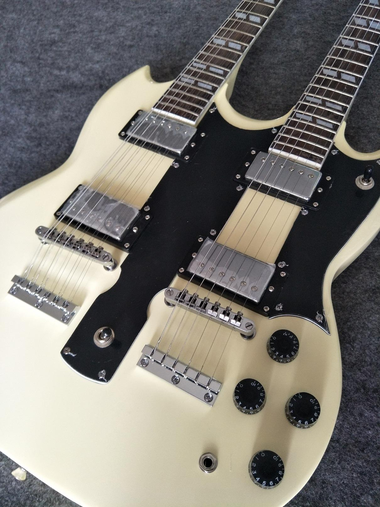 Двойная шея 12-струнная электрическая гитара, профессиональная электрическая электрическая электрическая электрическая гитара на заказ магазин многоцветный дополнительный китайский заводский завод