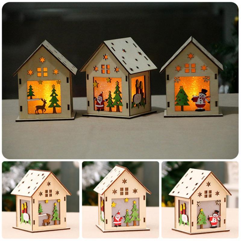 Decoraciones de Navidad Festival LED para el hogar de la casa ligera ornamentos colgantes de madera de vacaciones en Niza Año Nuevo Decoración caliente