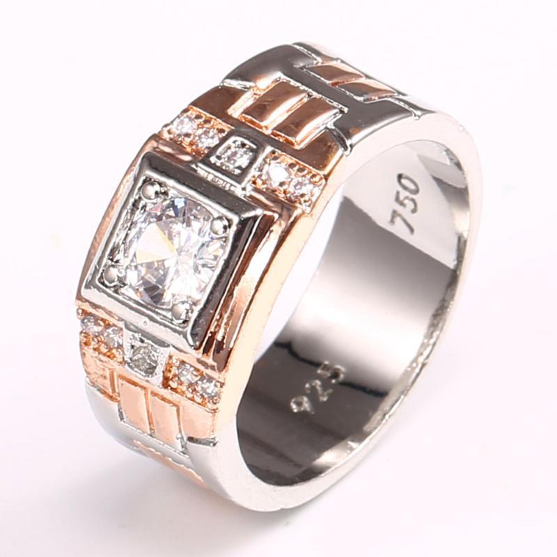 بوتيك الموضة الحديثة 2020 نغمتين الرجال الهيب هوب حلقة هندسية مليئة CZ ستون خاتم الزفاف هدية لامرأة