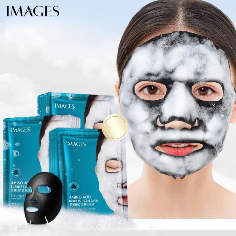 Images acides aminés charbon de bambou Bubble Mask Pores Deep Clean Tête noire Blackhead Noir traitement Masque Soins du visage