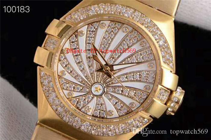 Лучшие Алмазные Леди Часы Женские часы Swiss 8521 Автоматическая 28800 полуколебаний Sapphire Crystal Power Reserve водостойкой 18K Gold сталь 316L