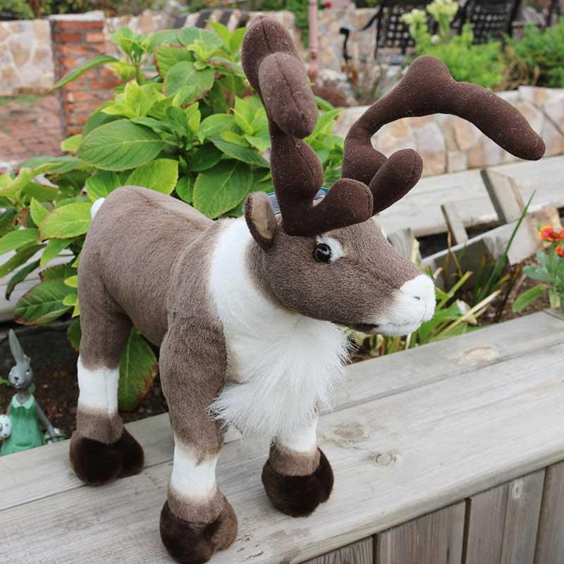 Dorimytrader Simulation Animal Reindeer Plush Toy Soft Sika Deer Doll Wapiti Moose Elk Pillow Gift Christmas Deco 17.7inch 45cm DY60294