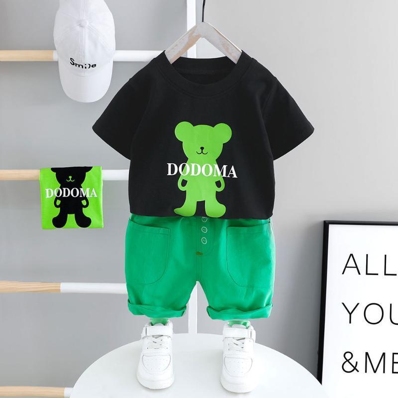 ropa de bebé de la manera del verano nuevos pantalones cortos de manga corta cuello redondo de dos piezas letra oso de dibujos animados de impresión ocasional del juego del bebé