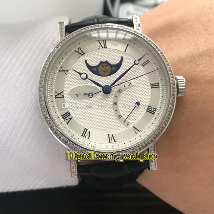 Luxry 8 Цвет Дешевого Classique 8788 8788BB / 12/986 / DD00 White Moon Phase циферблат Автоматических Мужские часы Серебристых Diamonds чехол кожаный ремешок Часы