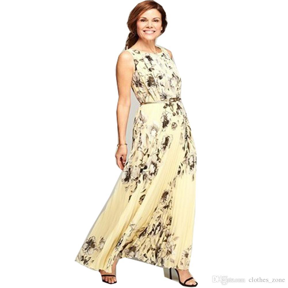 Robe plissée pour les femmes Jaune Imprimé Floral avec Ceinture Ceinture D'été Soirée De Bal Soirée Longue Robe 7113