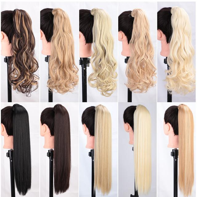 22'' Wrap Synthetic Ponytail Extensions Long Wavy Clip In False Hair Pony Tail Hairpiece With Hairpins I's a wig