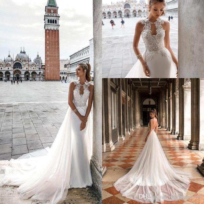 Julie Vino Mermaid Spitze Brautkleider Sexy Backless Satin Hochzeit Brautkleider mit abnehmbarem Zug nach Maß
