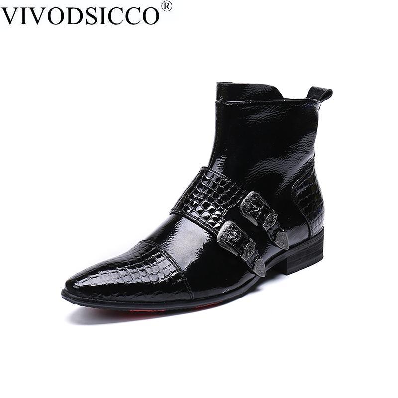 VIVODSICCO style britannique Hommes Bottes Double Buckles Crocodile Bottes Hommes Homme Chaussures Gardez la cheville au chaud