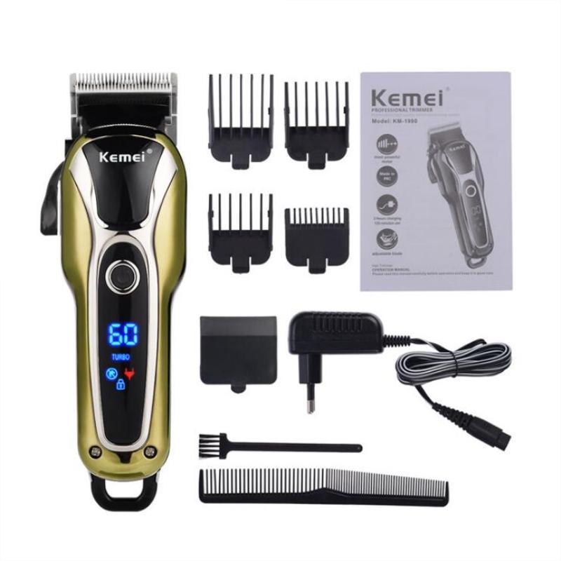 Kemei KM-1990 Profesional Super Power LCD digital de recorte del salón de pelo de las podadoras de bajo ruido de corte del condensador de ajuste del límite de peines Hombre Niños 110-240 UE